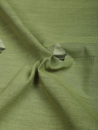 Green-Black Jamdani Khadi Cotton Fabric