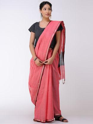 Pink-Black Cotton Saree with Zari Border