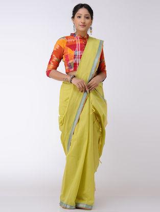 Yellow-Green Cotton Saree with Zari Border
