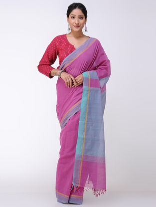 Pink-Blue Cotton Saree
