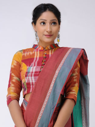 Red-Blue Cotton Saree with Woven Border