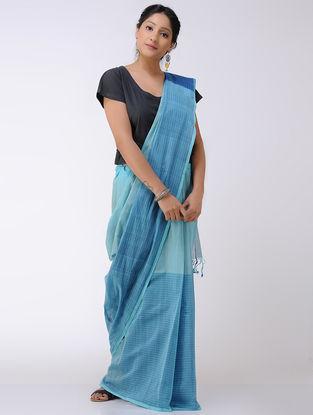 Blue-Grey Cotton Saree