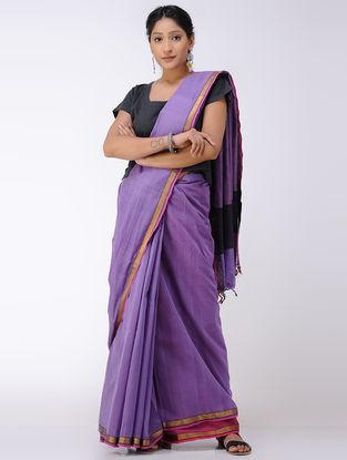 Purple Cotton Saree with Zari Border