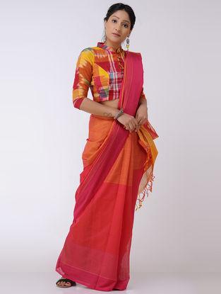 Orange-Pink Cotton Saree