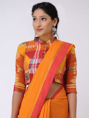 Orange-Pink Cotton Saree with Zari Border
