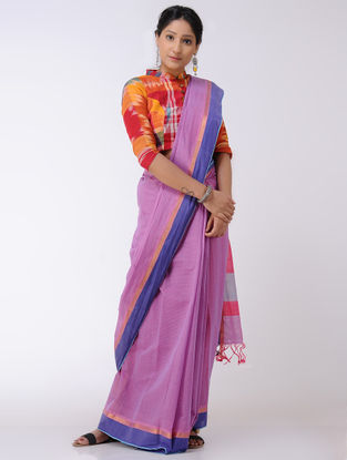 Pink-Blue Cotton Saree with Zari Border