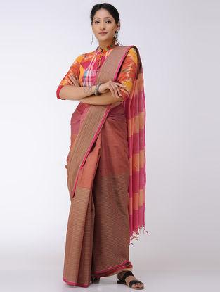 Brown-Pink Cotton Saree