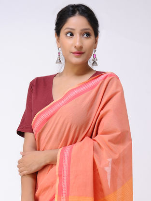 Red-Pink Cotton Saree with Woven Border