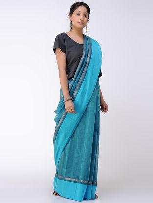 Blue-Black Cotton Saree with Zari Border