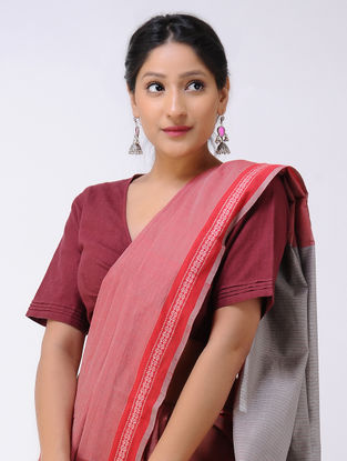 Red-Grey Cotton Saree with Woven Border