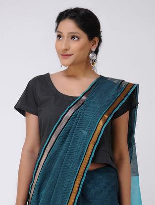 Blue Cotton Saree with Zari Border