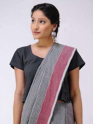 Black-Ivory Cotton Saree