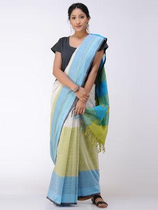 Blue-Green Cotton Saree