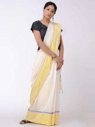 Ivory-Yellow Cotton Saree