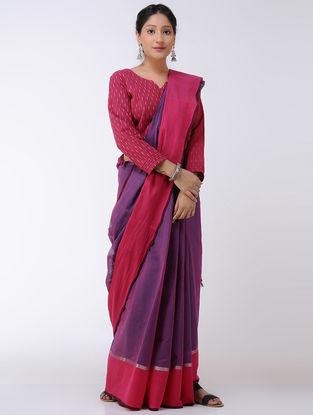 Purple-Pink Cotton Saree with Zari Border