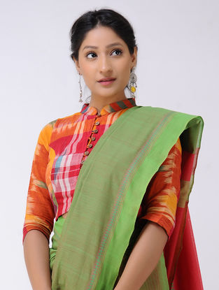 Green-Red Cotton Saree