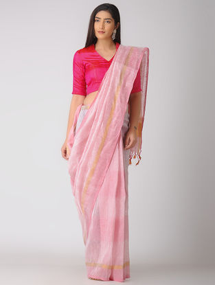 Pink Cotton Linen Saree with Zari