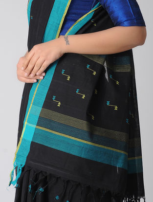 Black-Blue Jamdani Khadi Cotton Saree