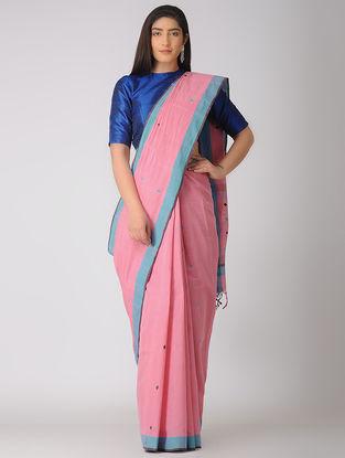 Pink-Turquoise Jamdani Khadi Cotton Saree