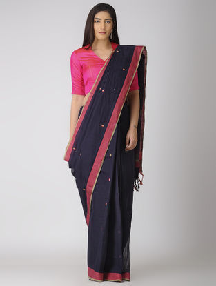 Blue-Pink Jamdani Khadi Cotton Saree