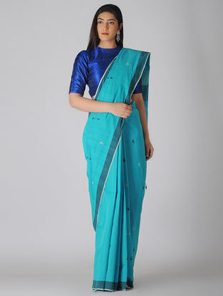 Blue-Ivory Jamdani Khadi Cotton Saree
