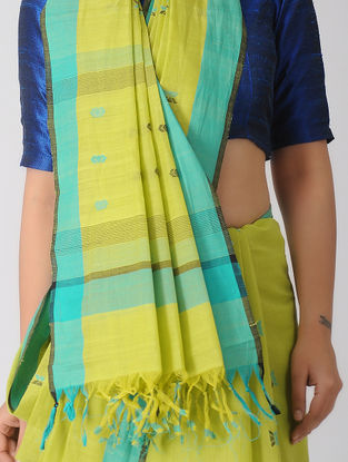 Yellow-Turquoise Jamdani Khadi Cotton Saree