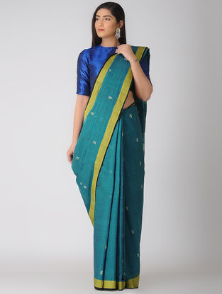 Blue-Yellow Jamdani Khadi Cotton Saree