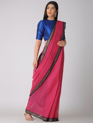 Pink-Blue Kuppadam Cotton Saree with Woven Border