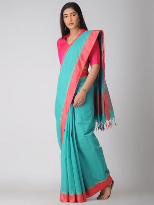 Blue-Pink Kuppadam Cotton Saree with Zari Border