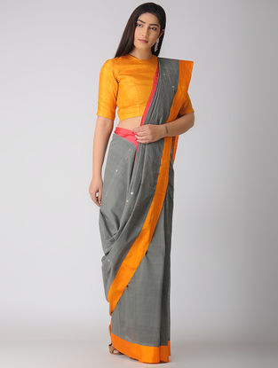 Grey-Orange Kuppadam Cotton Saree