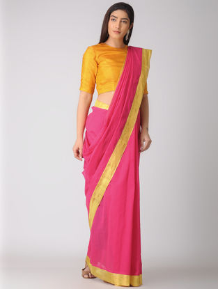 Pink Kuppadam Cotton Saree with Zari