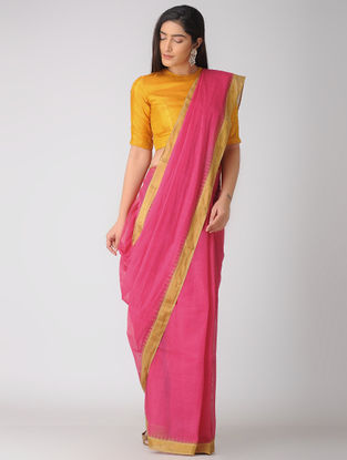 Pink Kuppadam Khadi Cotton Saree with Zari Border
