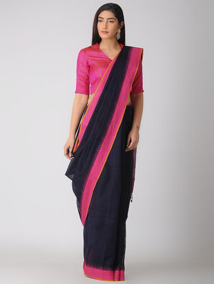 Blue-Pink Kuppadam Khadi Cotton Saree