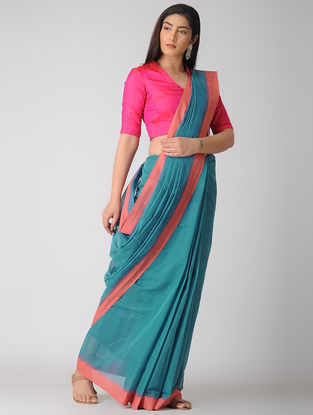 Blue-Peach Kuppadam Khadi Cotton Saree