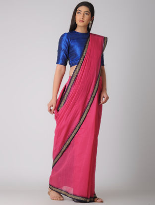 Pink-Purple Kuppadam Khadi Cotton Saree with Woven Border