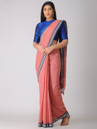 Pink-Blue Kuppadam Khadi Cotton Saree with Woven Border