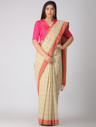 Beige-Orange Jamdani Khadi Cotton Saree
