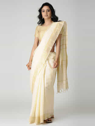 Ivory Jute Cotton Saree with Zari