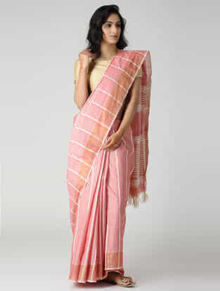 Pink-Ivory Jute Cotton Saree with Zari