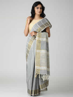 Grey-Ivory Jute Cotton Saree with Zari