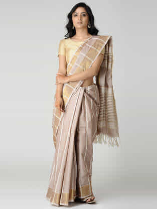 Beige-Ivory Jute Cotton Saree with Zari