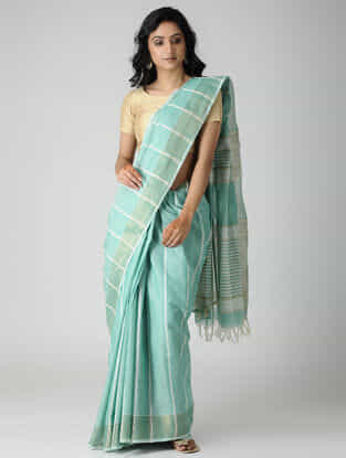 Sea Green-Ivory Jute Cotton Saree with Zari
