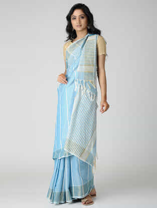 Blue-Ivory Jute Cotton Saree with Zari