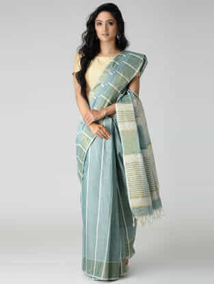 Green-Ivory Jute Cotton Saree with Zari
