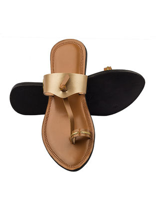 Brown-Golden Handcrafted Leather Flats for Women