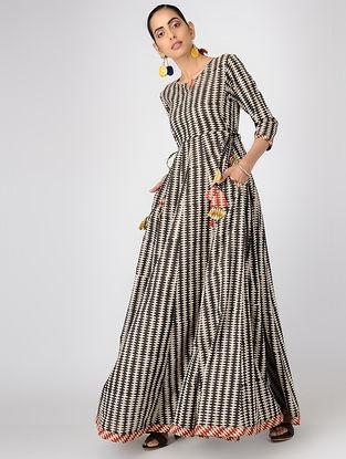 Black Block-printed Cotton Dress