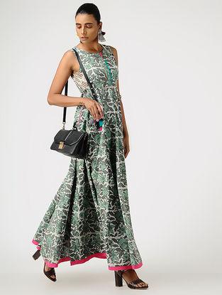 Green-Grey Block-printed Cotton Dress