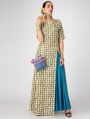 Beige-Blue Block-printed Cotton Dress