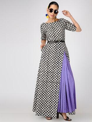 Black-Purple Printed Cotton Dress