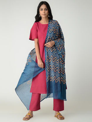 Blue-Orange Bandhani Cotton Mul Dupatta with Mukaish